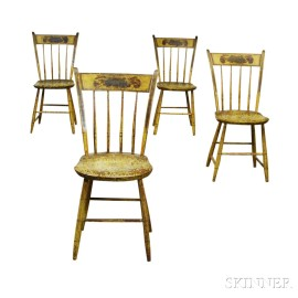 Set of Four Paint-decorated Thumb-back Windsor Chairs