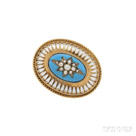 Gold, Pearl, and Enamel Brooch