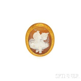 "Antique 18kt Gold and Shell ""Day and Night"" Cameo Brooch"