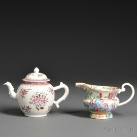 Chinese Export Porcelain Famille Rose Teapot and Rose Mandarin Creamer