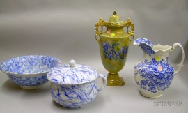 English Gilt Flow Blue Covered Urn, a Flow Blue Marble Pattern Chamber Pot and Basin, and a Blue and White Transfer Pitcher.