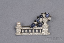 Art Deco Platinum, Carved Sapphire, Onyx, and Diamond Brooch