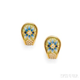 18kt Gold, Plique-a-Jour Enamel, and Diamond Earclips