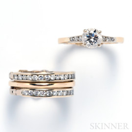 Four 14kt Gold and Diamond Rings