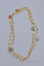 Antique 18kt Gold, Scarab, and Opal Chain