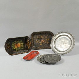 Seven Metal Plates and Trays