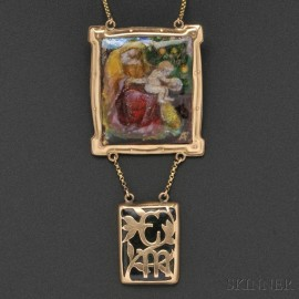 Arts & Crafts Gold and Limoges Enamel Pendant, Alexander Fisher
