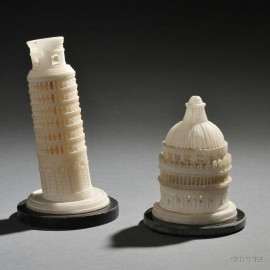 Pair of Grand Tour Alabaster Models of the Leaning Tower and Baptistery in Pisa