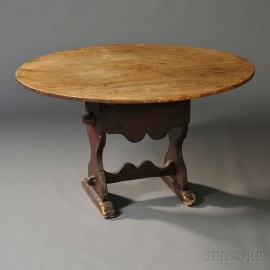 Pine and Ash Shoe-foot Hutch Table