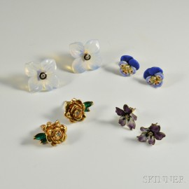 Four Pairs of Diamond-set Flower Earrings