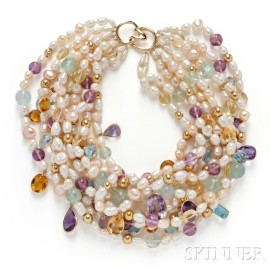 14kt Gold, Freshwater Pearl, and Gemstone Necklace