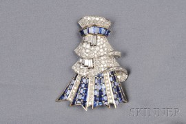 Sapphire and Diamond Clip Brooch, France
