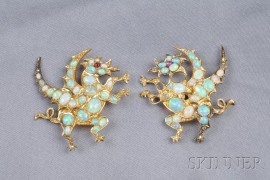 Pair of 18kt Gold and Opal Dragon Brooches