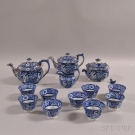 Staffordshire Blue Transfer-decorated Tea Set