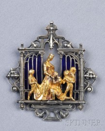 Gothic Revival 18kt Gold and Oxidized Silver Pendant, Froment-Meurice