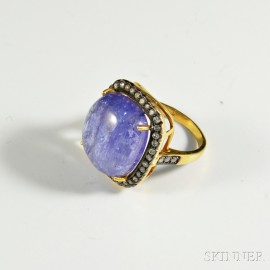14kt Gold, Diamond, and Sapphire Ring