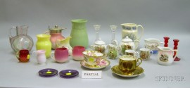 Twelve Pieces of Assorted Victorian Art Glass Tableware with Assorted Porcelain and   Glass Tableware