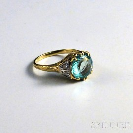 14kt Bicolor Gold, Diamond, and Green Beryl Ring