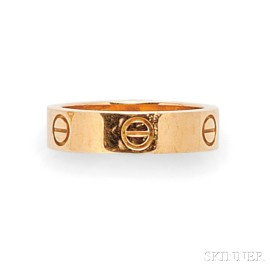 "18kt Rose Gold and Pink Sapphire ""Love"" Ring, Cartier"