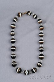 Banded Agate and Rock Crystal Bead Necklace