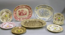 Three English Transfer Decorated Staffordshire Platters and Ten Plates.