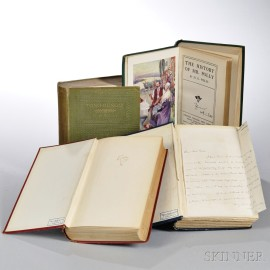 Wells, Herbert George (1866-1946) Four Titles: Three Signed, One with Autograph Letter Signed.