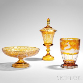 Three Pieces of Etched Amber Bohemian Glass