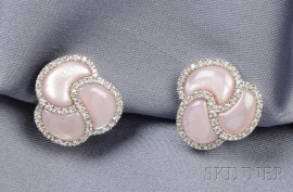 14kt White Gold, Pink Mother-of-Pearl, and Diamond Earclips