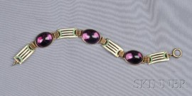 Art Deco 14kt Gold, Amethyst and Enamel Bracelet, Wordley Allsopp & Bliss