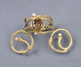 """18kt Gold, Colored Diamond, and Diamond """"Twig"""" Ring and Earrings, Sam Shaw"""