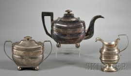 Assembled Three-piece Silver and Silver-plate Tea Set