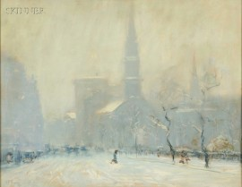 Arthur Clifton Goodwin (American, 1864-1929)      Arlington Street Church in Winter