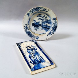 Two Mounted Delft Figural Tiles and a Delft Plate