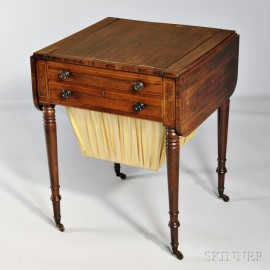Regency Rosewood Veneer Inlaid Drop-leaf Gaming Table