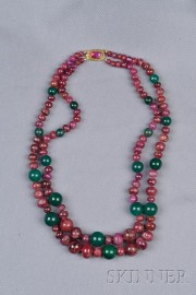 18kt Gold, Ruby, and Green Onyx Bead Double-Strand Necklace