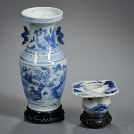 Two Blue and White Porcelain Vessels