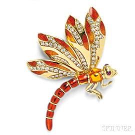 18kt Gold, Enamel, and Diamond Dragonfly Brooch, Judith Leiber