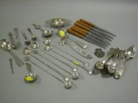Group of Approximately Thirty-five Sterling, Coin and Plated Silver Flatware and Table Items.