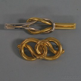 Two Gold Knot Brooches