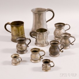 Assembled Set of Eight Graduated Pewter Measures and Two Mugs