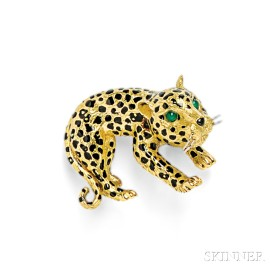 18kt Gold and Enamel Leopard Brooch