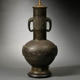 Bronze Vase Mounted as a Lamp