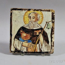 French Pottery Tile of a Dominican Saint
