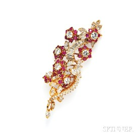 18kt Gold, Ruby, and Diamond Brooch