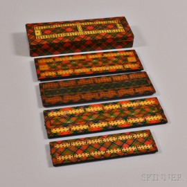 Four Tartanware Cribbage Boards and a Cribbage Board Box