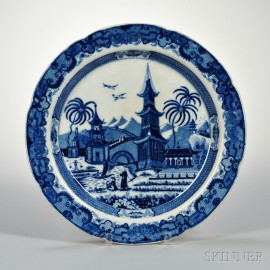 Leeds Pottery Blue and White Pearlware Charger