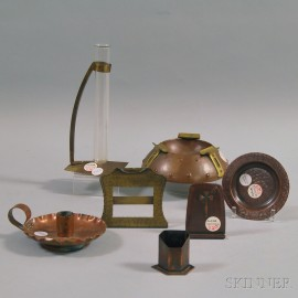 Seven Mostly Roycroft Copper Items