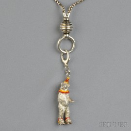 Silver and Enamel Bear Pendant, Attributed to Gene Moore, Tiffany & Co.