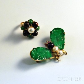 Two Pieces of 14kt Gold, Jade, and Pearl Jewelry