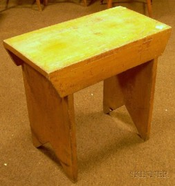 Small Mustard-painted Wooden Bench with Bootjack Ends